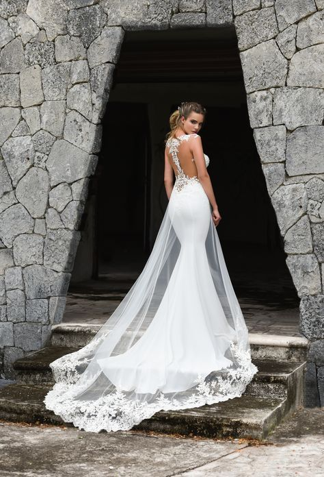 Dando London: Bakerloo, Code: 8524 (Purchase at Confetti and Lace UK) Gorgeous mermaid wedding gown with nude illusion lace racer back and white illusion train overskirt with lace hem