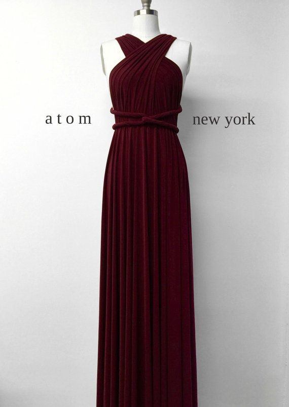 Burgundy Wine Red LONG Floor Length Ball Gown Infinity Dress Convertible Formal Multiway Wrap Dress Bridesmaid Dress Evening Christmas Party
