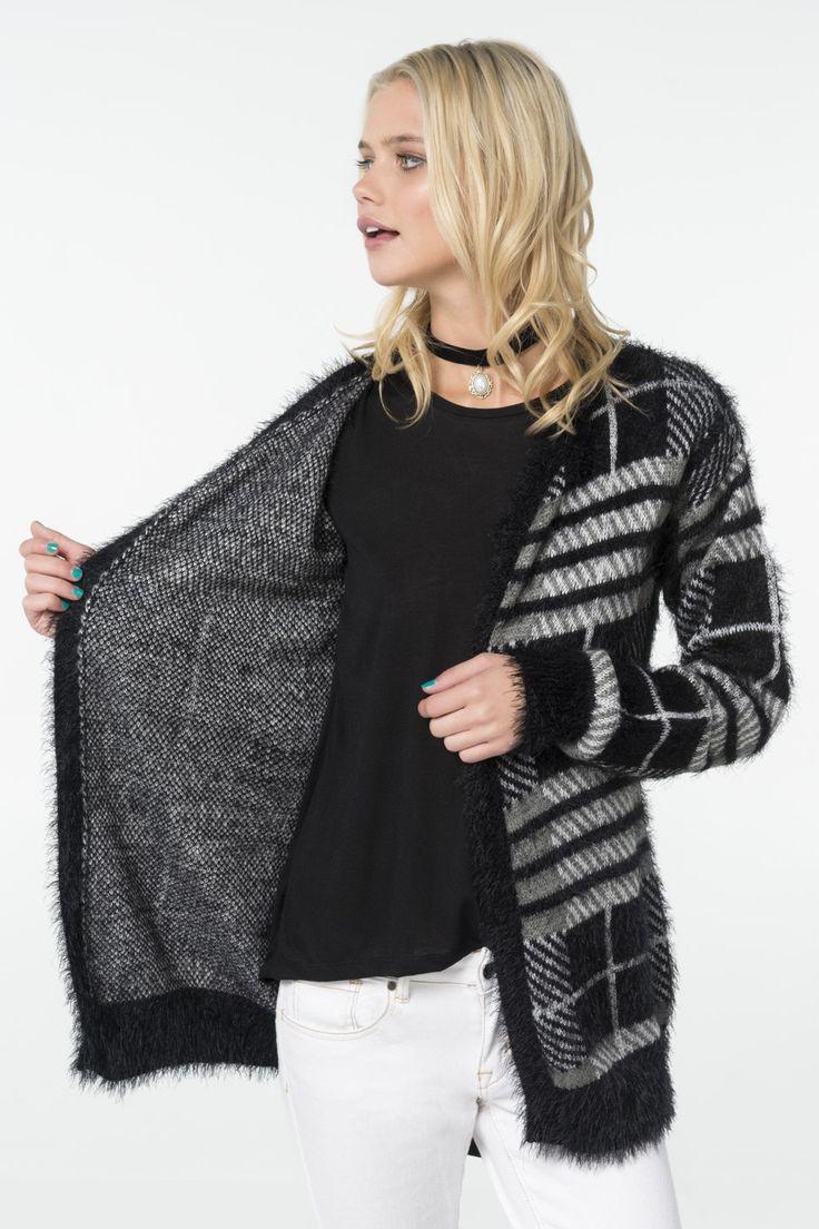 Black & grey plaid fuzzy cardigan
