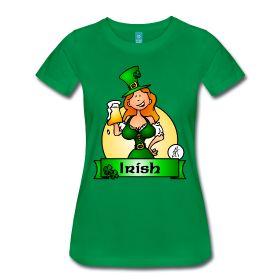 St. Patrick's Day Irish Maiden Women's Premium T-Shirt. #Spreadshirt #Cardvibes #Tekenaartje #Ireland #Irish