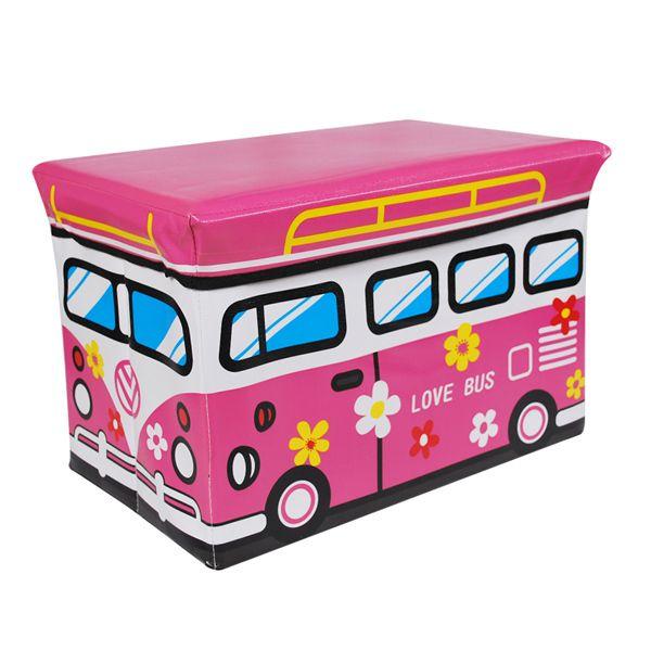 Auto multifunzionali sgabello di stoccaggio giocattolo di stoccaggio sgabello scatola di immagazzinaggio- grande di amore rosa bus