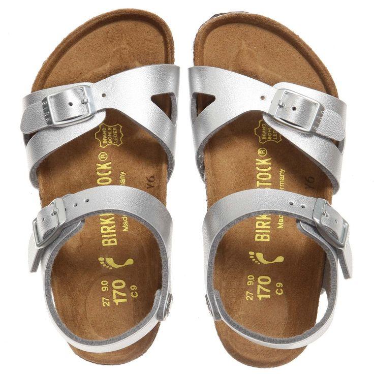 Birkenstock Girls Silver 'Rio' Sandals