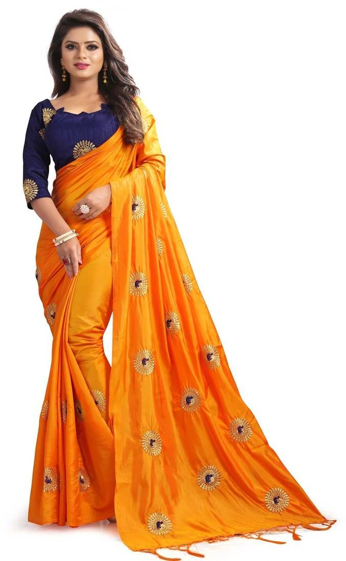 6ef9a71fdd599 Orange Art Silk Saree With Unstitched Blouse And Embroidered Pallu.