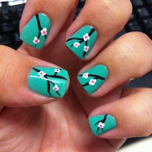 Cherry blossoms! - DIY nail art designs