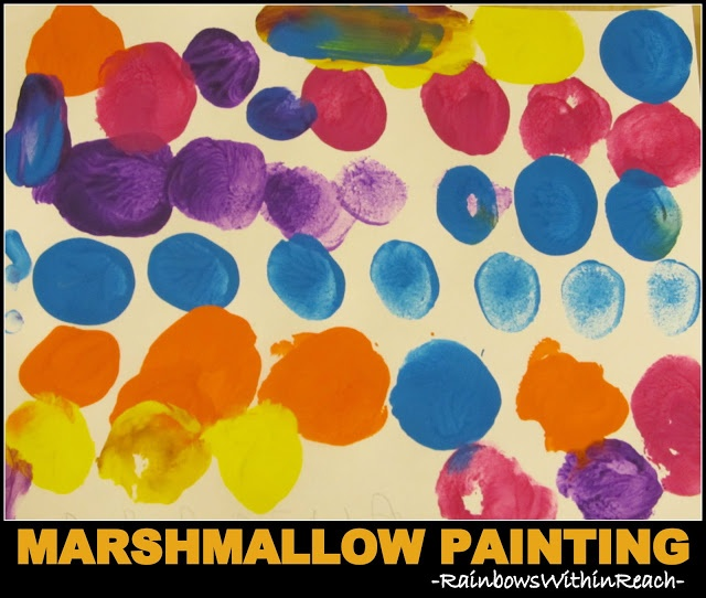 Marshmallow Painting in Preschool, Open-ended Art Project via RainbowsWithinReach