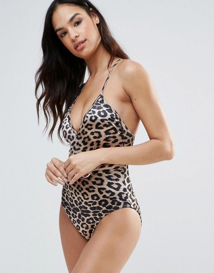 Forever Unique Animal Print Swimsuit With Cross Back - Black