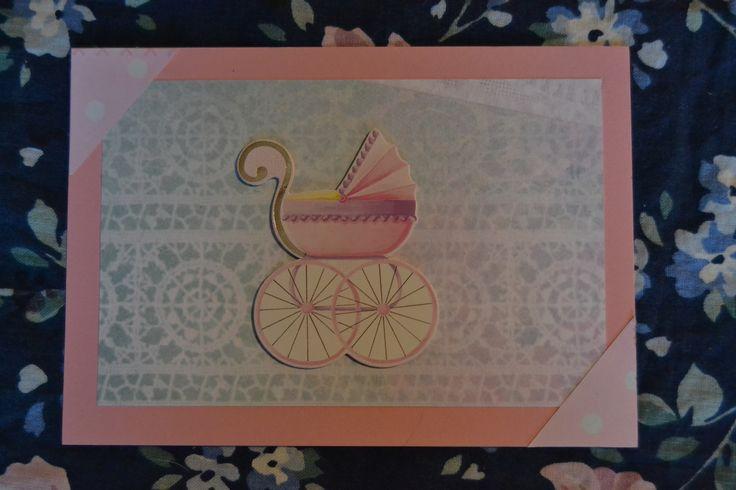 Vauva kortti tytölle. Baby card for girl.