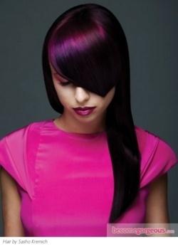 cheveux violetsaubergine lgant discret couleur vibrante - Coloration Aubergine