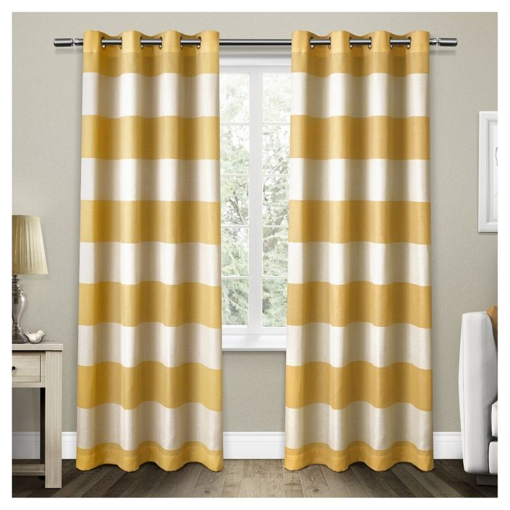 "Set of 2 / Pair Santa Monica Cabana Stripe Linen Grommet Top Window Curtain Panels Sundress Yellow (54""x84"") Exclusive Home"