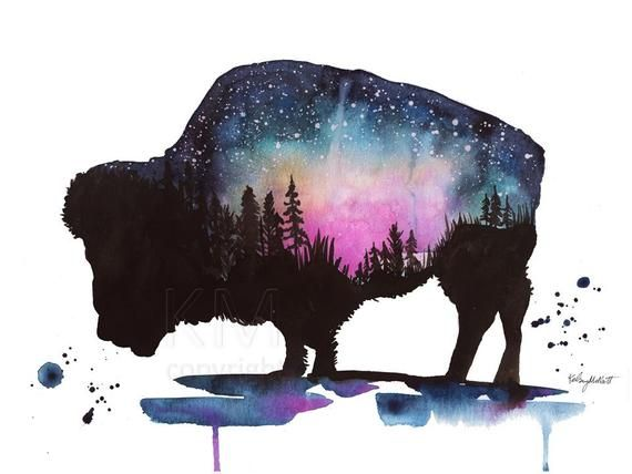 Buffalo Print Bison Print Watercolor Painting Galaxy Wall Art