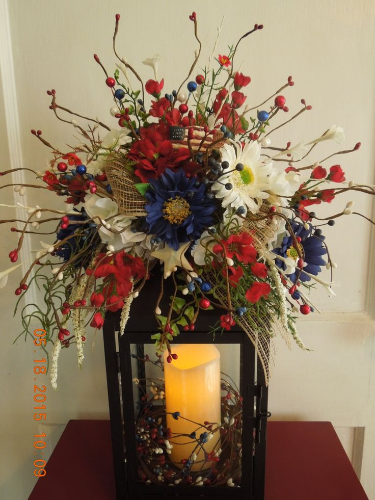 "16"" Summer Red,White,Blue Lantern Floral Swag Arrangement !!! by 4Seasonsflorals on Etsy"