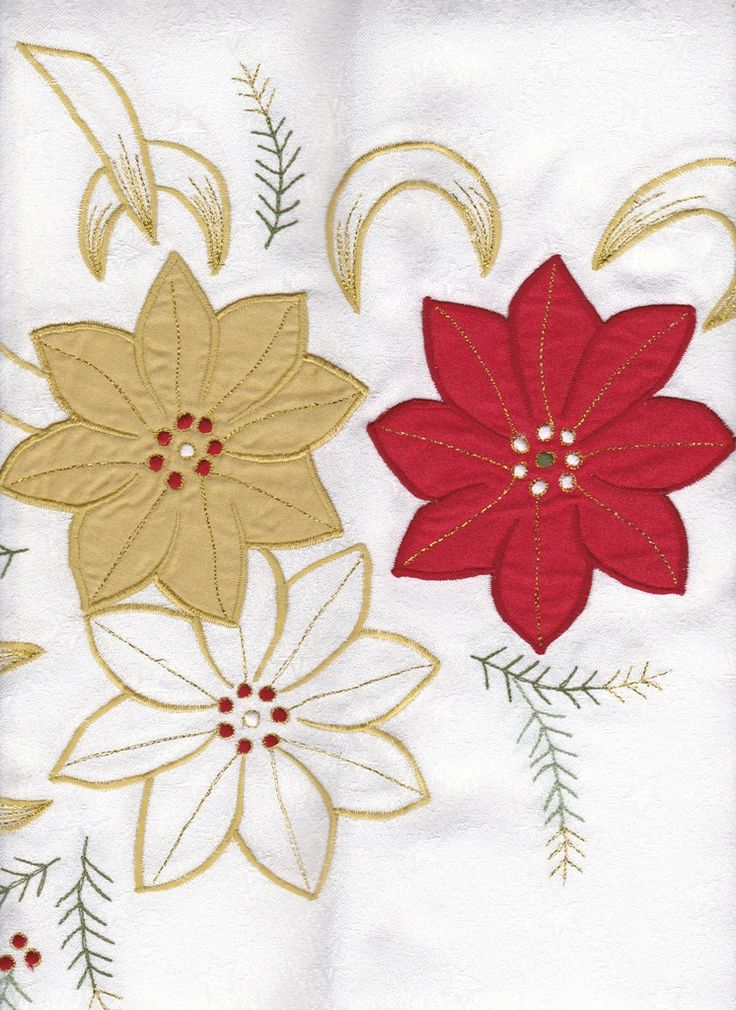 RED WHITE & GOLD POINSETTIAS APPLIQUE TABLECLOTH EASY CARE From $49.95CAD SHOP NOW https://thelaceandlinensco.com/store/products/category/special-occasion  #shopvintage #vintagedecor #weddings #lace #battenburg #antique #handembroidered #vintagedoily #vintagefinds #victorian #vintagegoods #vintagelinens #linens #vintagetablecoth #tablecloth #decor #cotton #bedding #cottage #home #1940s #curtains #shower #french #vintagecotton #diy #vintagebaby #christmas