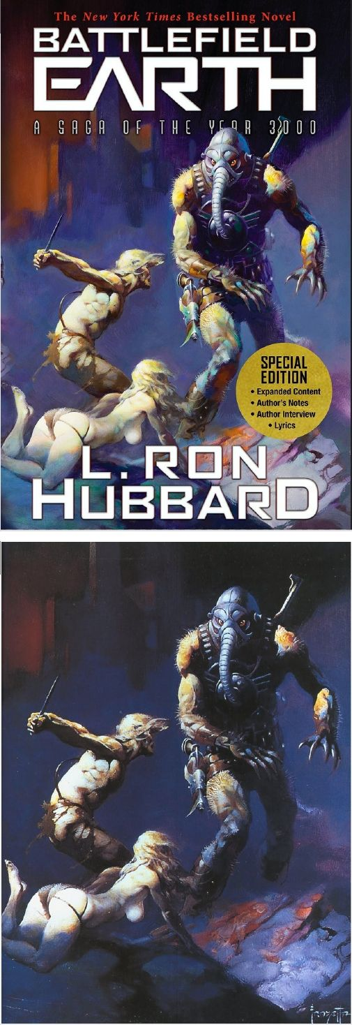 FRANK FRAZETTA - Battlefield Earth by L. Ron Hubbard - 2016 Galaxy Press - cover by isfdb