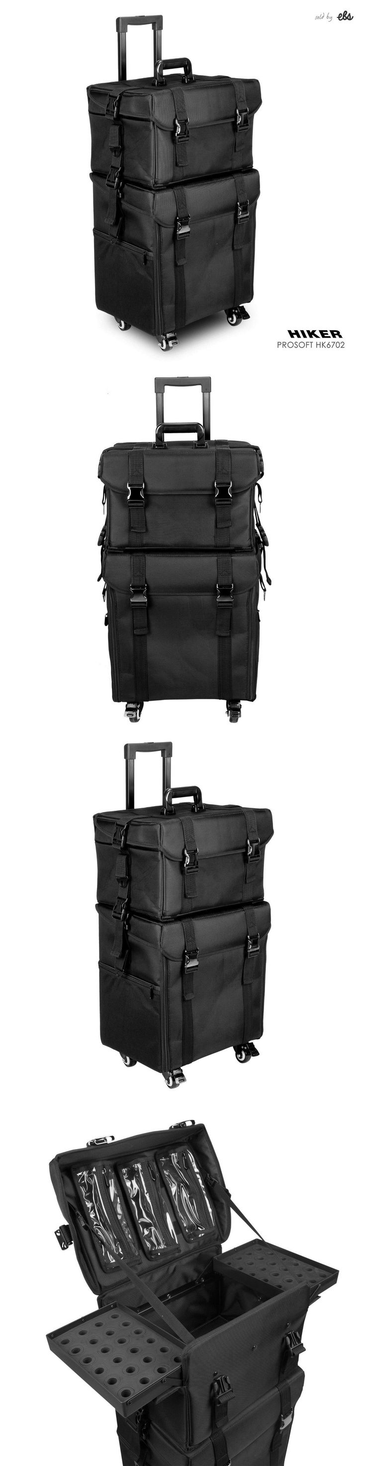 Rolling Makeup Cases: Professional Rolling Makeup Train Case Soft Sided Nylon Black Organizer Trolley -> BUY IT NOW ONLY: $229 on eBay!
