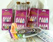 Nail Art Supply ULTIMATE Starter Kit including striping tape micro beads glitter rhinestones dotting tools and brushes
