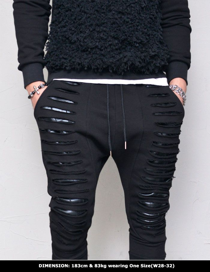 Razor Damage Leather Layer Baggy-Sweatpants 322 by Guylook.com  Great quailty jersey cotton body with textured faux leather layer in contrast Powerful razor cut edge hems that creates an unbeatable rebellious street-edge vibe  Flattering slim drop baggy cut with fitte ribbed hem bottom