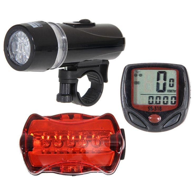 Fiets Snelheidsmeter en 5 LED Mountainbike Fietsen Licht Hoofd en Achter Lamp Licht Super Fiets Accessoires Set
