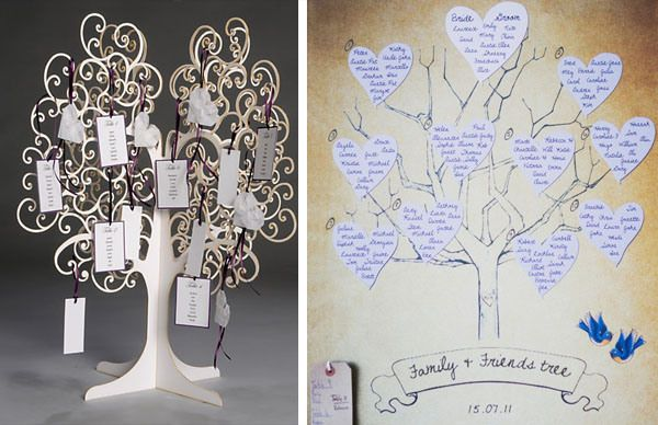 Wishing tree seating plan, but on white tree bark with black and white photos.