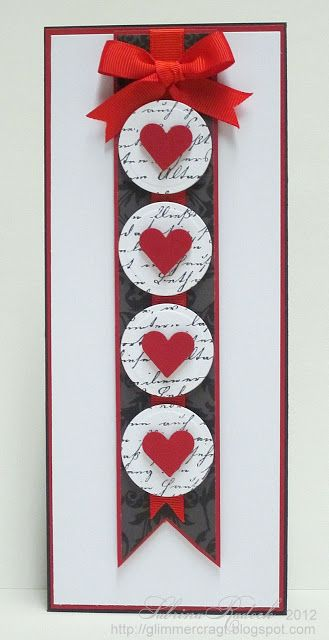 handmade valentine card from aspiring to creativity all from scraps leftover die cuts tall and thin card fishtail banner with circles with hearts on