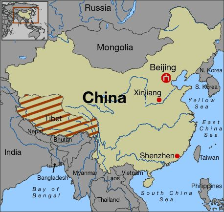 Tibet in relation to China