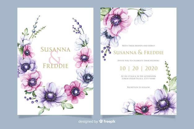 Wedding Invitation Template With Flowers Free Vector Free Vector Freepik Wedding Invitation Templates Wedding Invitation Card Template Wedding Invitations