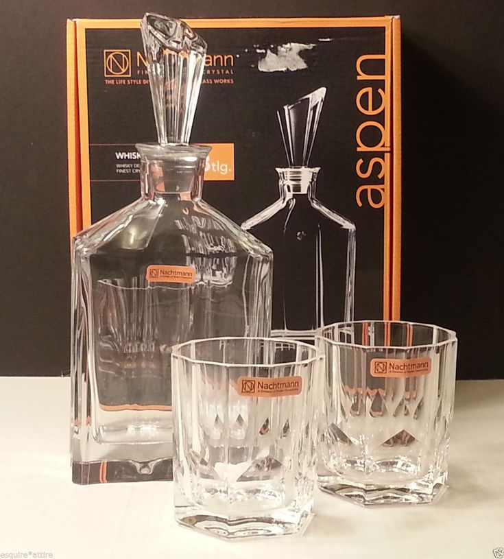 #ebay vintage collectible crystal Nachtmann ASPEN Set crystal Decanter and Two crystal whiskey Glasses In Box withing our EBAY store at  http://stores.ebay.com/esquirestore