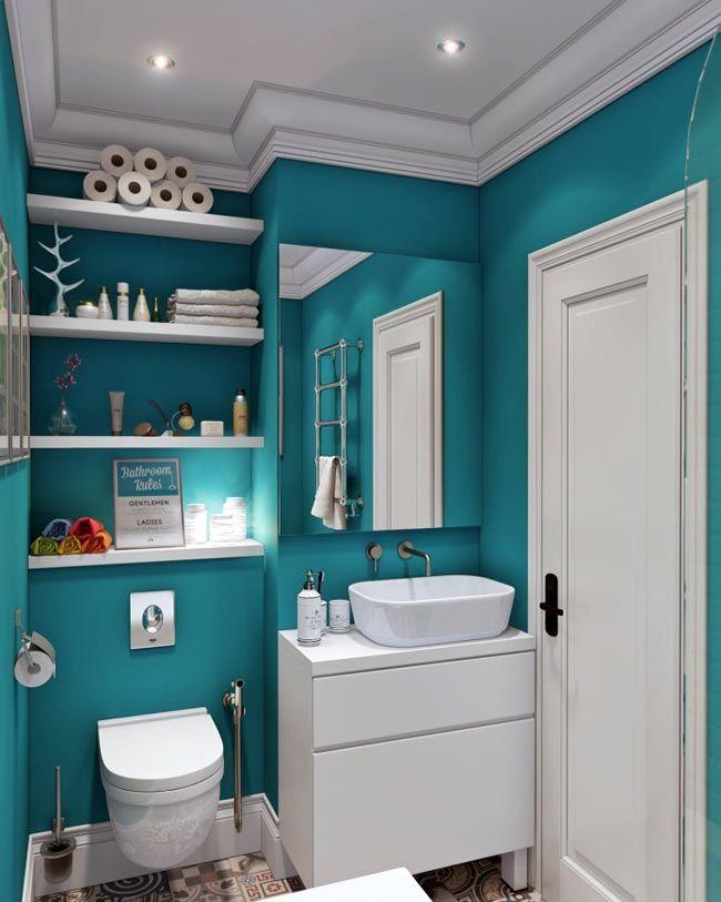 Маленькая ванная комната в бирюзе фото