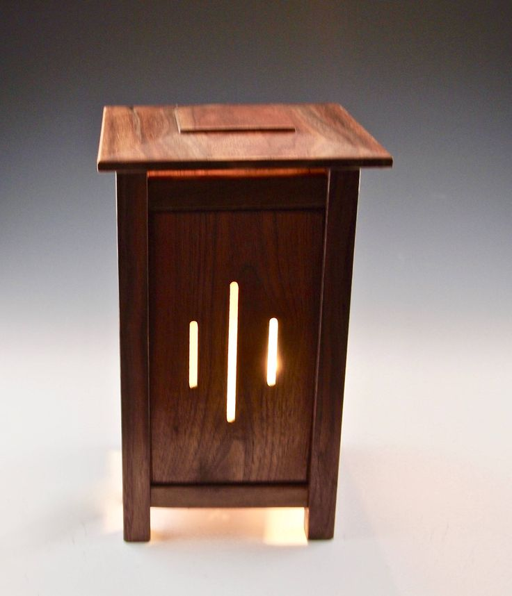 Mission style lighting, handcrafted table lamp, craftsman style lamp, small walnut lamp, small desk or table lamp, one of a kind lamp by WildatHeartWood on Etsy