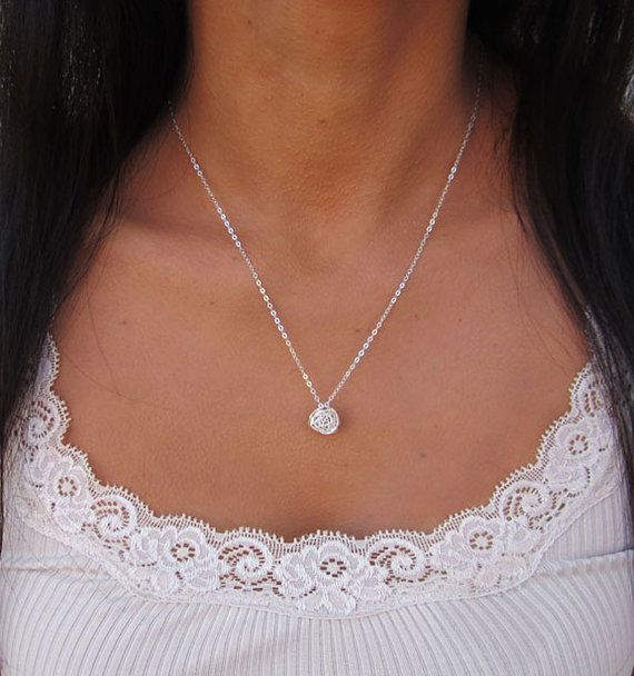 Tie the Knot Necklace Bridesmaid Knot Necklace by VasiaAccessories