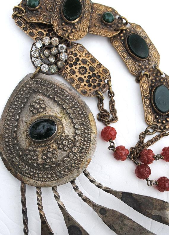 Vintage South African Tupu Tribal Mantel Pin Victorian Jade Bracelet Carnilian Rosette Statement Necklace.