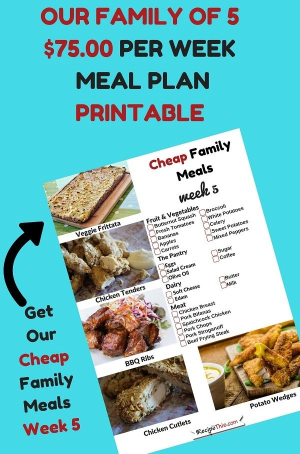 Cheap Family Meals Week 5 Cheap Meal Plan