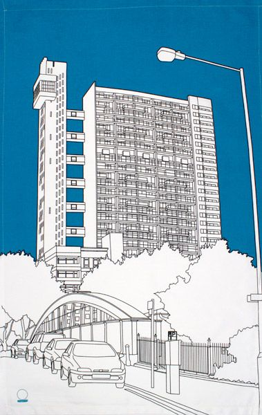 Trellick Tower tea towel by People Will Always Need Plates - Designer tea towels from ToDryFor.com