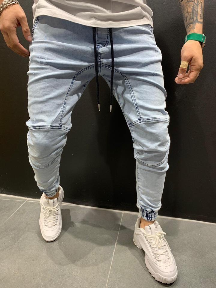 Jogger Jeans Washed Denim 4450 Ropa De Moda Hombre Pantalones De Hombre Moda Moda Ropa Hombre