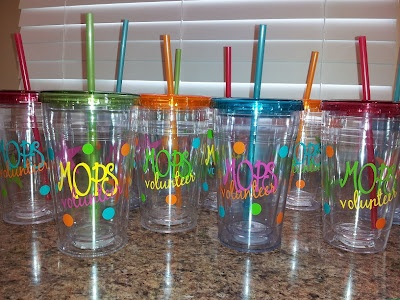 Custom MOPS tumblers for our loving caregivers in the nursery.  Every Moppet worker needs to stay hydrated. :o)