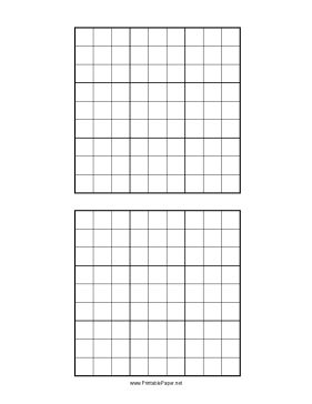 This printable paler features a pair of sudoku grids. Free to download and print