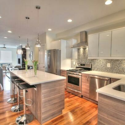 white washed kitchen wood floors glass opaque cabinet doors horizontal wood grain cabinets