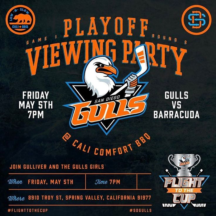 Happy Cinco de Gulls!! Today is the day to pack the house (@calicomfortbbq) and watch our @sdgullsahl take on the @sanjosebarracuda This is certainly a Playoff Watch Party you don't want to miss!! We recommend you come early to grab a good seat! We will also be showing the @anaheimducks game 5! - #Playoffs #WatchParty #calicomfortbbq #LetsGoGulls #protectthenest #letsgoducks #paintitorange #FlightToTheCup #caldercup #ahl