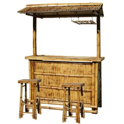 Amerihome Babbrc Outdoor Bamboo Tiki Bar Set 3 Piece By Amerihome South Pacific Style
