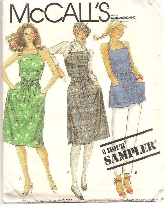 1980's McCall's Pattern Halter Wrap-dress Cobbler apron Uncut Vintage easy sewing pattern All sizes Summer woman garment fashion