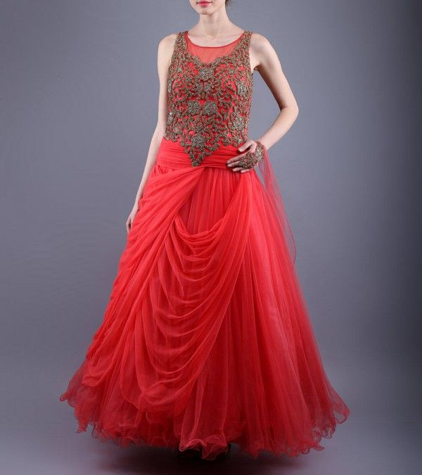 Red Net Gown With Swarovski Work  http://www.shadesandyou.com/product/red-net-gown-with-swarovski-work/   #LehengaCholi #BridalLehengas #DesignerLehengas