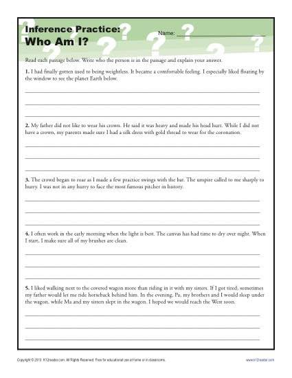 Don't go crazy making your own worksheets... Check out this site that covers every grade (includes Common Core Standards) and every strand of language arts (reading skills, grammar, vocabulary, and composition). This page is on inference. Love this!