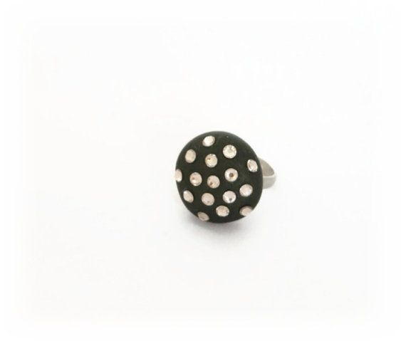 Black Crystal Ring  Polymer Clay Ring  Party by Lottieoflondon