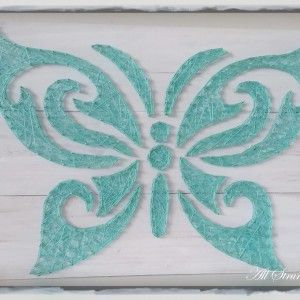 Tribal butterfly string art all strung up