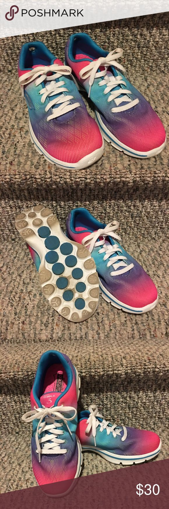 Sketchers Go Walk 3 Neon Pastel Size 7 Sneaker Sketchers gogomat technology insert I this cute pastel size 7 Go Walk sneaker has only been worn twice.  Start your New Year exercise plan out on a pretty pastel foot. Skechers Shoes Sneakers