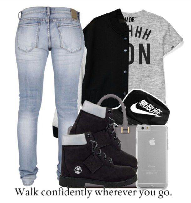 Cute Outfits with  black Timberlands | black, cute, dope, polyvore, style, timberlands, dope outfits