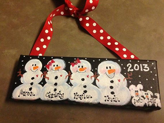 "Personalized Hand Painted Custom Canvas Snow Family 3""x9"" Ornament Wall Hanger"