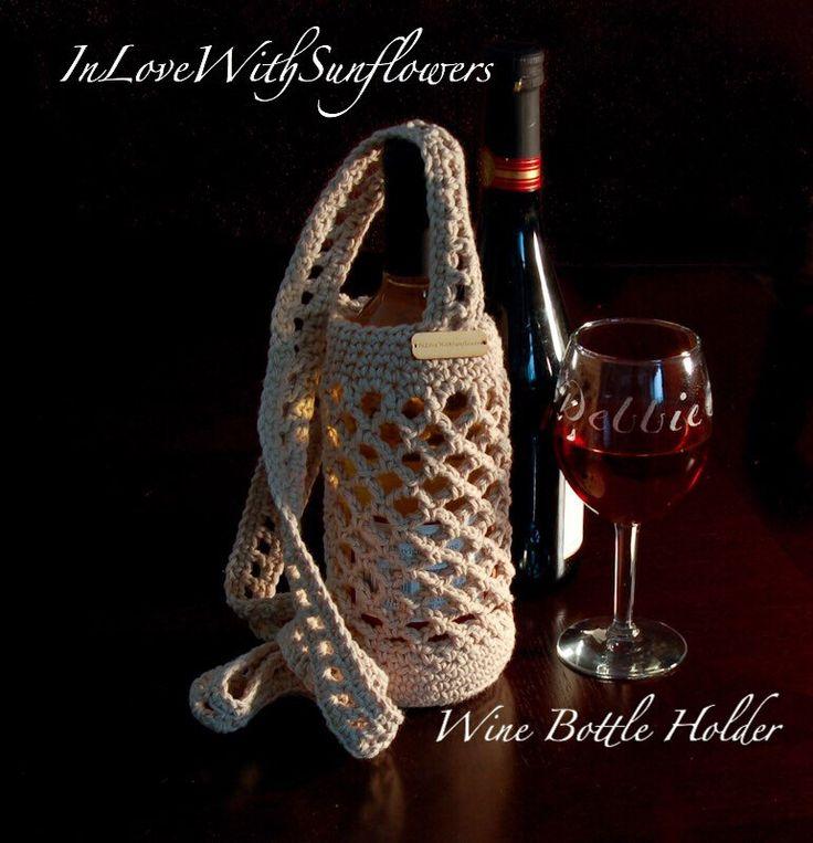 Crochet Water Bottle Holder- Wine Bottle Holder Large water bottle holder  Crochet cross body holder Under 20 Gift by InLoveWithSunflowers on Etsy https://www.etsy.com/listing/238351059/crochet-water-bottle-holder-wine-bottle