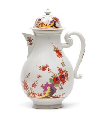 A coffee pot with cover, porcelain, bulbous body, cover with Chinese hat finial, iron-red rims with polychrome indianische floral stems, tuff rocks and garden fence, height 21 cm, some restoration to spout, Meissen, underglaze blue sword mark circa 1730. Wien, Dorotheum, 22.04.15, no. 917.
