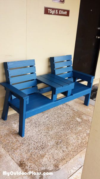 DIY Outdoor Bench with Table | MyOutdoorPlans | Free Woodworking Plans and Projects, DIY Shed, Wooden Playhouse, Pergola, Bbq