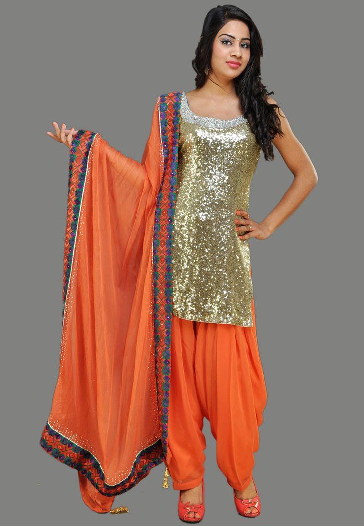 Golden Color Faux Georgette Readymade Patiala Suit: KQX17